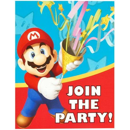Super Mario Party Supplies 16 Pack Invitations - Super Mario Birthday Invitations