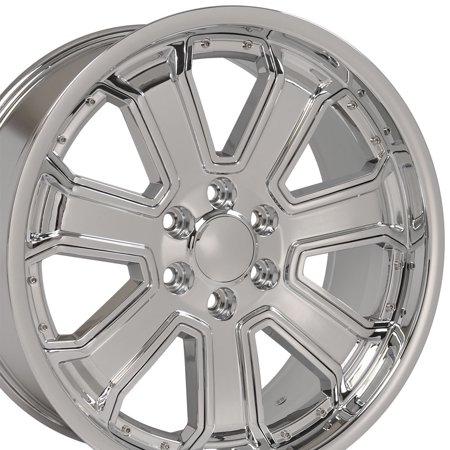 Deep Dish Chrome Rims (OE Wheels 22 Inch Fits Chevy Silverado Tahoe GMC Sierra Yukon Cadillac Escalade CV93 Chrome w/Chrome 22x9.5 Deep Dish Rim Hollander)