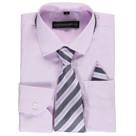 b6511f2ba18c2 Kids World Big Boys' Dress Shirt with Accessories (Sizes 8 - 20)