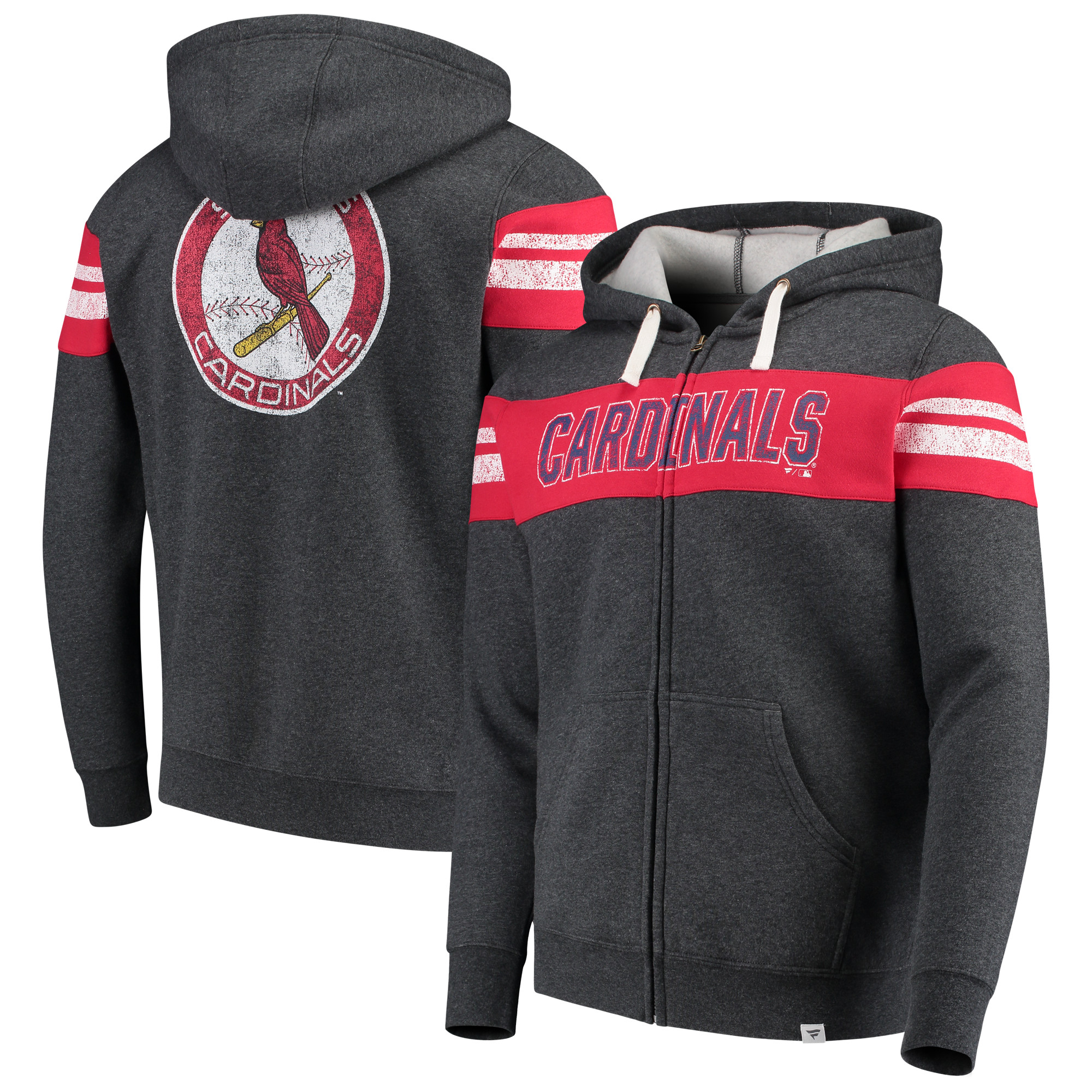 St. Louis Cardinals Fanatics Branded True Classics Full-Zip Hoodie - Heathered Charcoal