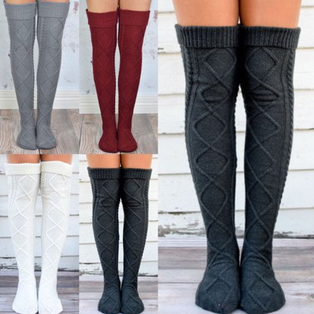Sexy Women Knitted Knee High Socks Long Boot Socks Winter Cable Knit Legging Warmers - Womens Silver Latex