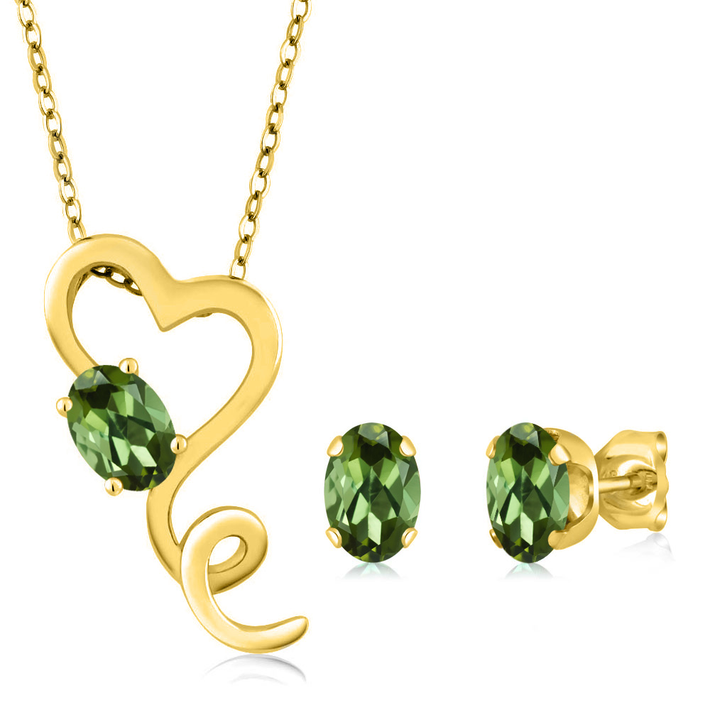 2.10 Ct Oval Green Tourmaline 14K Yellow Gold Pendant Earrings Set by