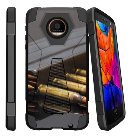 Case for Motorola Moto Z Force XT1650 | Moto Z Force Hybrid Case [ Shock Fusion ] Hybrid Layers and Kickstand Case FireArm Collection