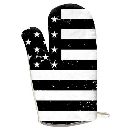 4th of July Black And White American Flag All Over Oven Mitt