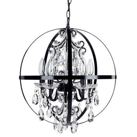 Amalfi decor 5 light crystal beaded orb plug in chandelier black amalfi decor 5 light crystal beaded orb plug in chandelier black wrought aloadofball Images