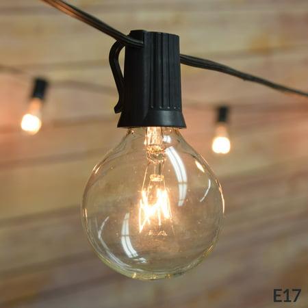 25 Socket Outdoor Patio String Light Set, G50 Clear Globe Bulbs, 28 FT Black Cord w/ E17 Base ()