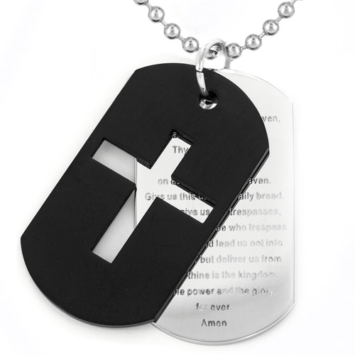 "Men's Black-Plated Stainless Steel Cross and ""Lord's Prayer"" Double Dog Tag Necklace"