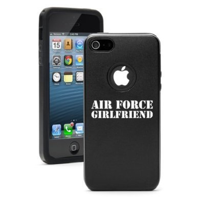Apple iPhone 6 Plus / 6s Plus Shockproof AS Aluminum & Silicone Hard Soft Case Cover Airforce Girlfriend (Black),Daylor