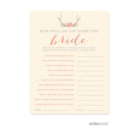 how well do you know the bride woodland deer wedding bridal shower game cards