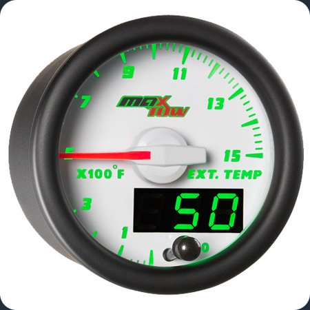 MaxTow White and Green 1500 Exhaust Gas Temperature EGT Pyrometer Gauge