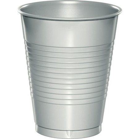 Touch of Color Plastic Cups, 16 Oz, Shimmering Silver, 20 Ct