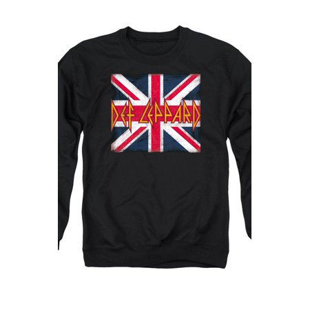Def Leppard 80s Heavy Metal Band Union Jack Logo Adult Crewneck