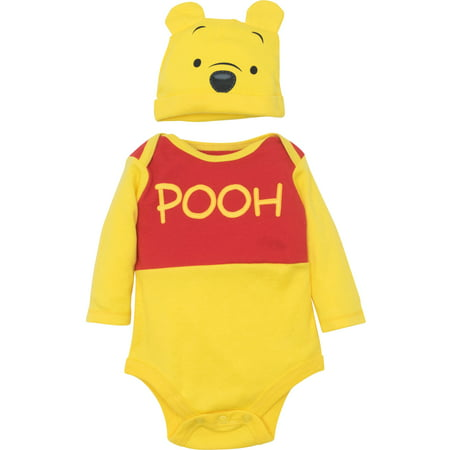Disney Winnie the Pooh Baby Boys' Costume Bodysuit and Hat Set, Yellow (3-6 Months)
