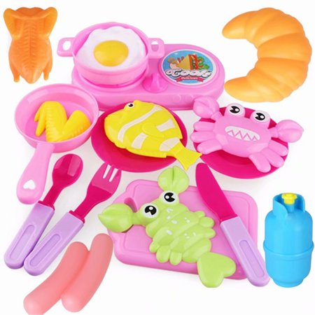 Akoyovwerve 18PCS Kids Play Toy Kitchen Cooking Food Utensils Pans Dishes Cookware Simulation Kitchen Tableware Food