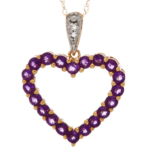 """.84 Carat T.G.W. Amethyst and Diamond Accent 10kt Yellow Gold Heart Pendant, 18"""""""