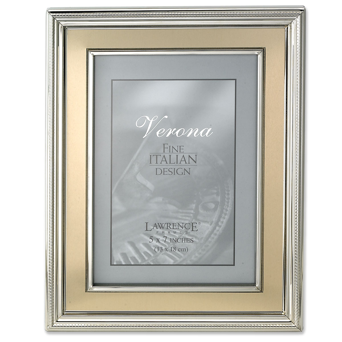 5x7 Silver Plated Metal Picture Frame - Brushed Gold Inner Panel