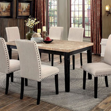 Dodson I Marble Top Transitional Dining Table, Black Finish
