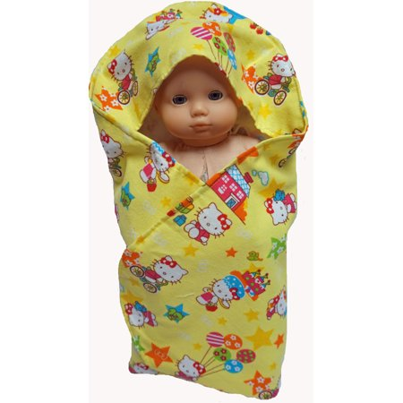 Doll Clothes Superstore Fits 15-16 Inch Baby Dolls Bath Wrap With Kitten Print Zebra Print Baby Doll