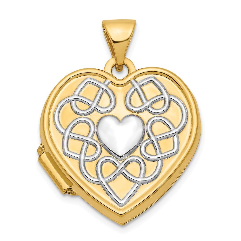 14k Yellow Gold 18mm Heart Rhodium Reversible Gold Locket