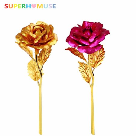 SUPERHOMUSE Plated Golden Rose Flower for Women, 24K Gold Artificial Flowers Party Favors - Best Gift for Valentine's/Mother's/Anniversary/Birthday Day (with Packing