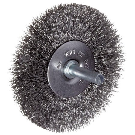 Weiler - 36011 - Weiler 3 X 1/4 Vortec Pro Carbon Steel Stem-Mounted Radial Coarse Crimped Wire Wheel Brush For Use On Carbon Steel Crimped Wire