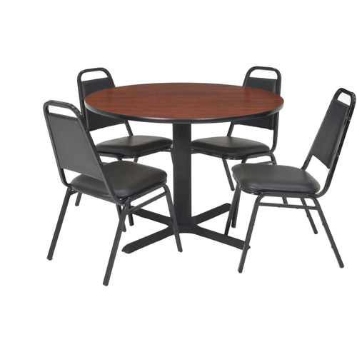 "Regency 5-Piece 36"" Round Lunchroom Table with Metal ""X"" Base and 4 Chairs"
