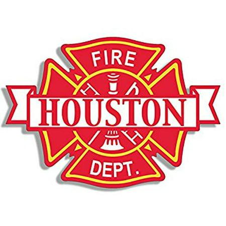 Maltese Shaped HOUSTON Fire Dept Sticker Decal (firefighter department texas tx) 4 x 4 inch