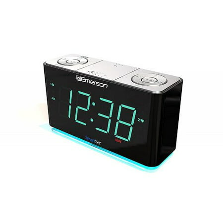 Emerson SmartSet Alarm Clock Radio with Bluetooth Speaker, USB Charger for iPhone and Android, Night Light, and Cyan LED