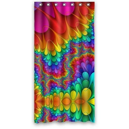 HelloDecor Rainbow Meditation Tie Dye Shower Curtain Polyester Fabric Bathroom Decorative Size 36x72 Inches