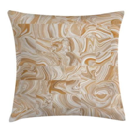 Apartment Decor Throw Pillow Cushion Cover, Decorative Vintage Marble Stone Patterns with Irregular Dimensions Image, Decorative Square Accent Pillow Case, 18 X 18 Inches, Tan Cream, by Ambesonne - Decorative Marbles