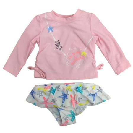 Infant Girls Pink I'm Really A Mermaid 2 Pc Starfish Rashguard Swimming Suit