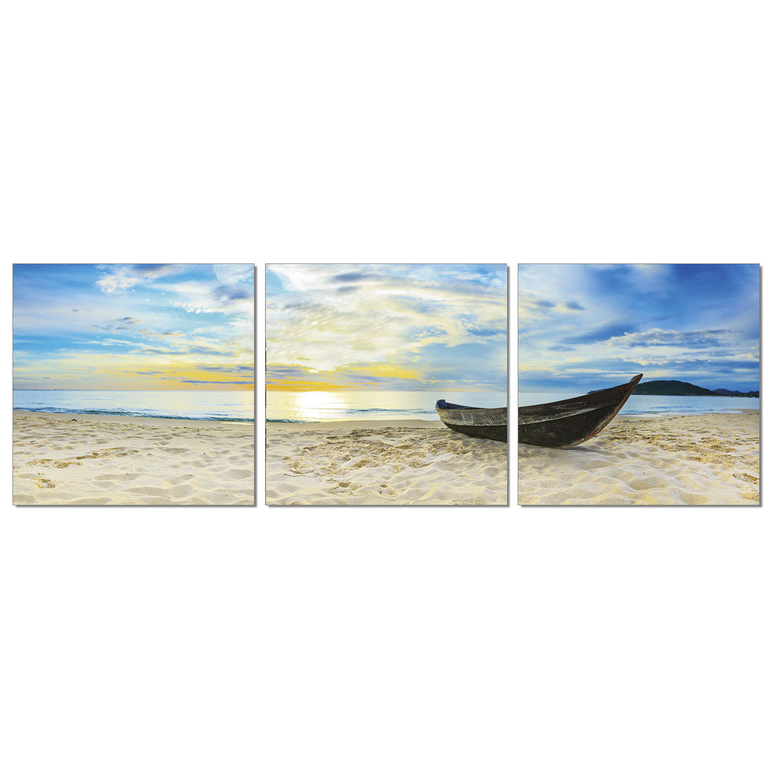 Furinno SENIC Fishing at Sunset 3-Panel Canvas on Wood Frame, 60 x 20 Inches - image 1 of 1