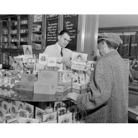 USA Massachusetts Man selling tobacco products to customer in shop Poster (Tobacco Products)