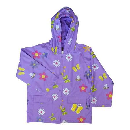 Flower Raincoat - Foxfire FOX-601-70-2T Childrens Lavender Flower Rain Coat - Size 2T