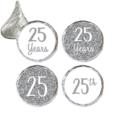 25th Anniversary Candy Stickers 324 Count - Silver 25th Anniversary Party Supplies 25th Wedding Anniversary Decorations Party Favors - 324 Count Stickers (25th Anniversary Favors)