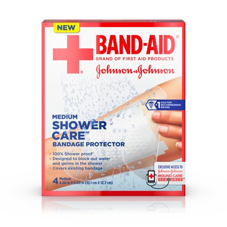 First Aid Only Plastic Bandages - Band-Aid Brand First Aid Shower Care Bandage Protector, Medium, 4 ct