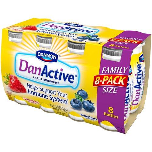 DanActive Strawberry/Blueberry Probiotic Dairy Drink, 3 1. fl oz, 8 ct
