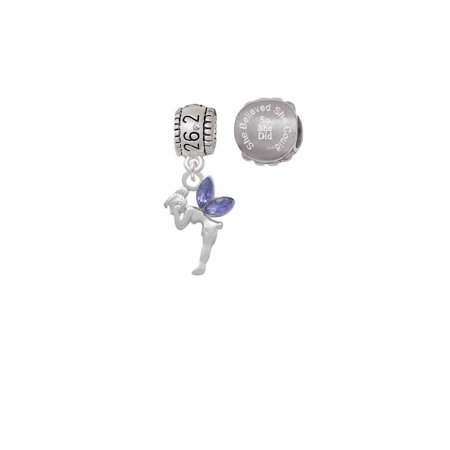 Silvertone Small Fairy with Purple Wings 26.2 Marathon Run She Believed She Could Charm Beads (Set of 2) ()