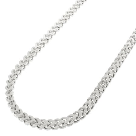 Sterling Silver 3mm Hollow Franco Square Box Link 925 Rhodium Necklace Chain 22