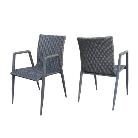 Belle Outdoor Wicker Dining Chairs, Set of 2, Grey ()