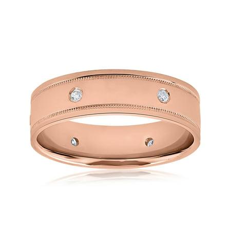 14k Rose Gold Diamond Mens Band High Polished 6MM Comfort Fit Wedding Ring