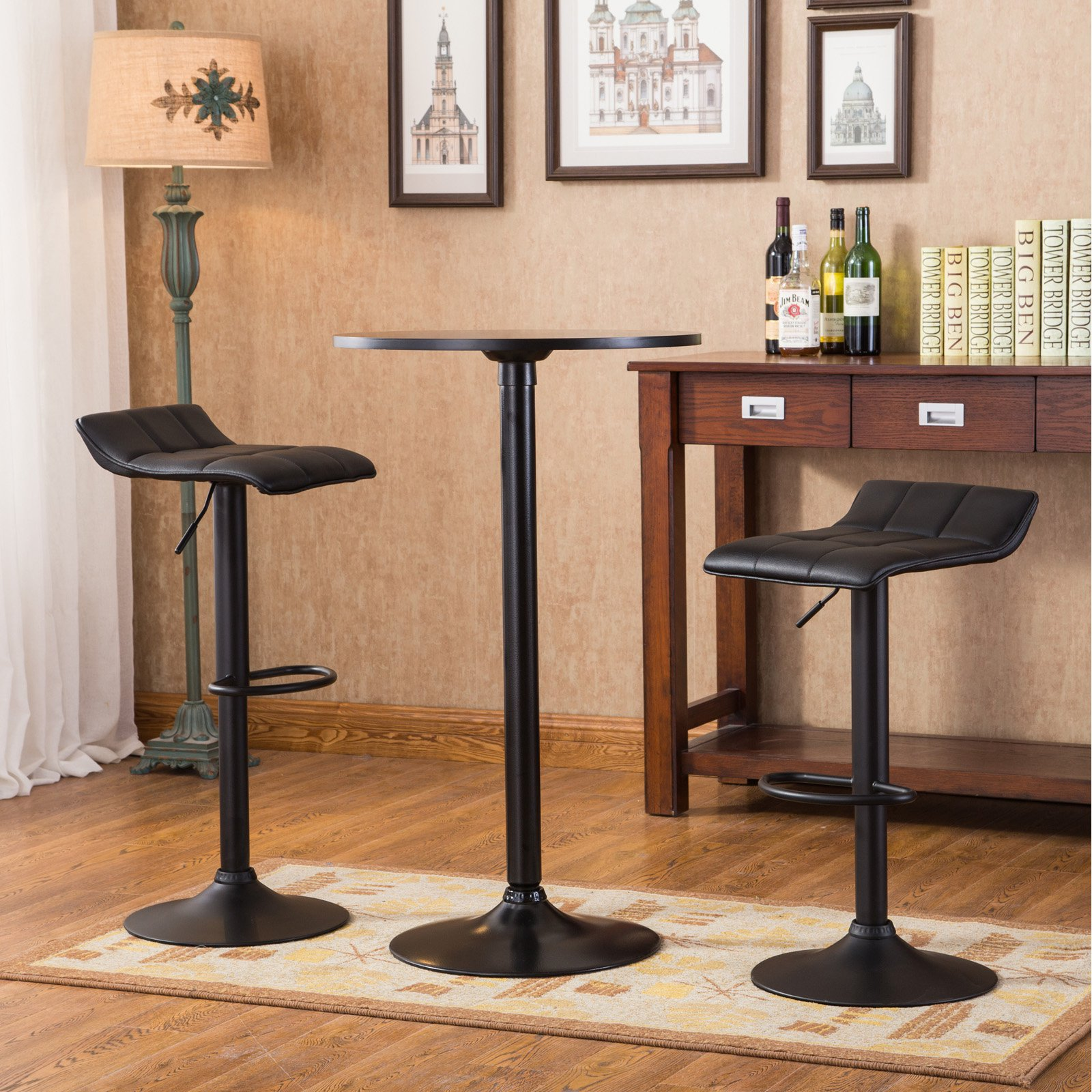 Roundhill Furniture Belham Black Round Top with Black Leg And Base Metal Bar Table and 2 Swivel Black Bonded Leather Adjustable Bar Stool Bar Sets