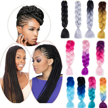 24'' Synthetic Afro Twist Braids Kanekalon Jumbo Braiding Ombre Hair Extensions - Hot Pink Hair Extensions