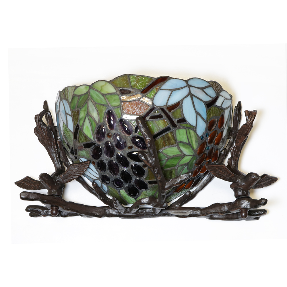 Basket and Birds Tiffany Glass Metal Wall Sconce