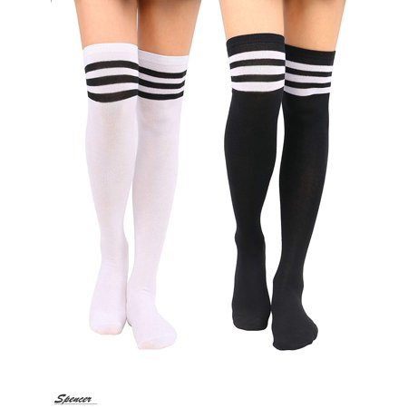 "Spencer 2 Pairs Women Stripe Tube Over the Knee Leg Warmer Knit Crochet High Boot Thigh Socks Leggings ""Black&Stripe Black"""