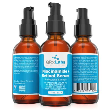 5% Niacinamide (Vitamin B3) + Retinol Serum (2 oz) - Ultimate Anti-Aging Wrinkle Reducing Treatment - Fights Acne Breakouts and Fades Blemishes & Spots