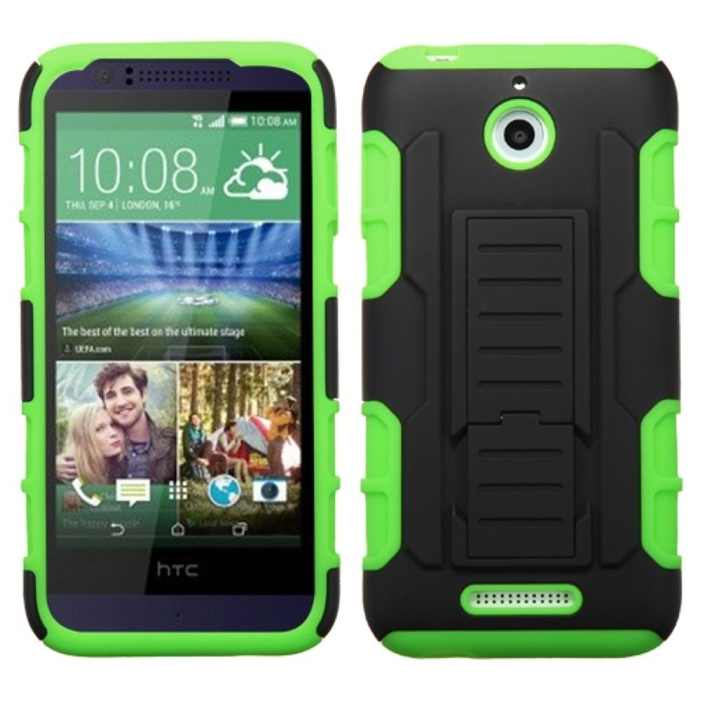 Insten Hard Hybrid Plastic Silicone Cover Case w/stand For HTC Desire 510 - Green/Black