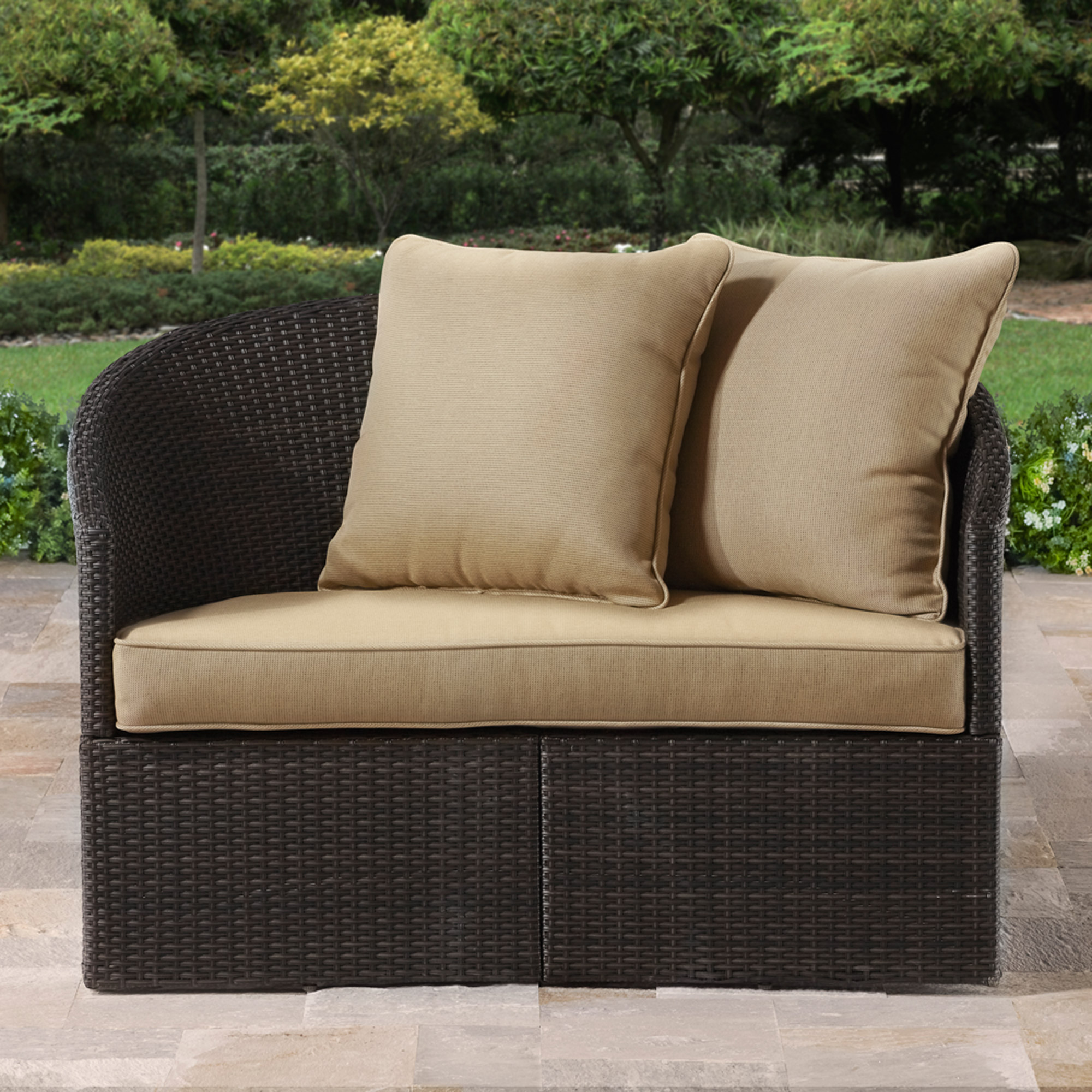 Cushioned Brown Resin Wicker Love Seat Curved Outdoor Patio Home