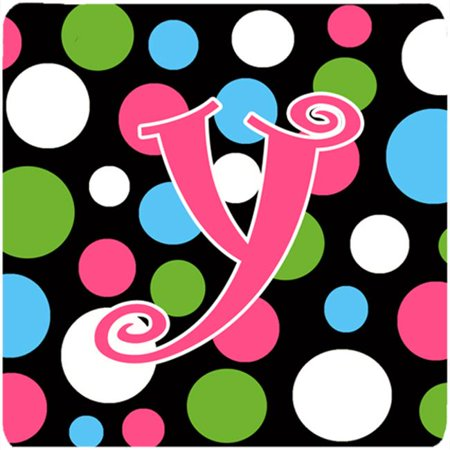 Monogram - Polkadots And Pink Foam Coasters - Set 4, Initial Letter Y