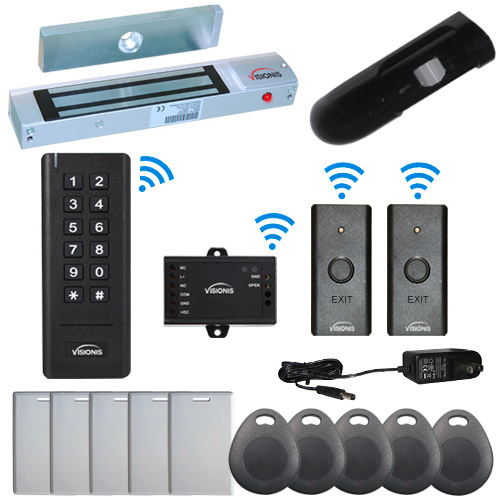 Visionis FPC-6377 Black Indoor One door Access control Outswinging Door 2.4Ghz Wireless Keypad/Reader and Exit Button Wired 300lb maglock PIR Included 500 Users 50 Ft Range Standalone No software Kit
